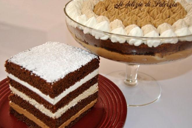Coppa e tortino alla panna caffè e caramello