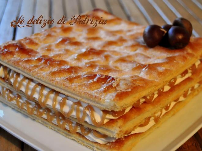 Millefoglie con ganache alla crema di marroni e cioccolato bianco