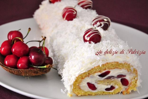 Rotolo con crema di cocco e ciliegie ©Le delizie di Patrizia Gabriella Scioni