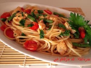 Spaghetti al pesce spada, pomodorini e fagiolini ©Le delizie di Patrizia Gabriella Scioni