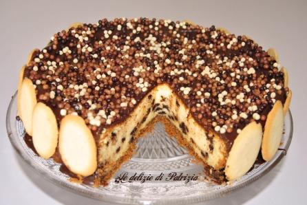 Cheesecake al forno con gocce di cioccolato