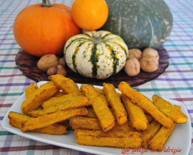 Stick di zucca al curry con panatura di mais