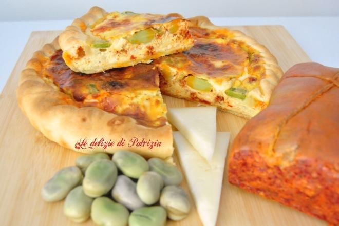 Torta rustica con fave, 'nduja e formaggio